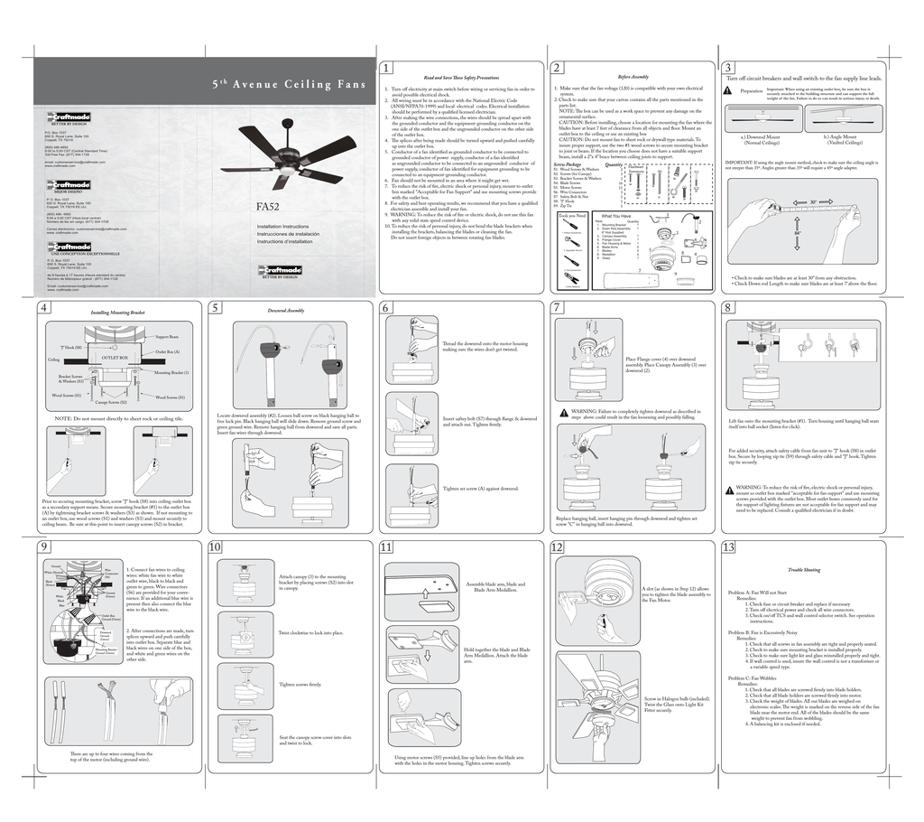 7 Images Craftmade Ceiling Fan Instruction Manual And